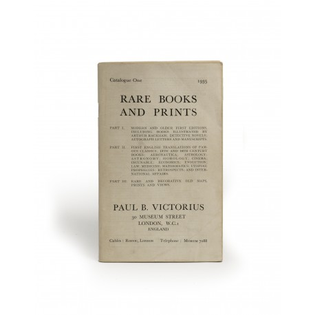 [Stock catalogues, numbered series: 1] Rare books and prints : Modern and old first editions, including books illustrated by Arthur Rackham, detective novels, autograph letters and manuscripts : First English translations of famous classics, 15th and 16th century books, aeronautica, astrology, astronomy, horology, cinema, incunabula, economics, evolution, law, medicine, mathematics, Utopias, prophecies, retrospects, and international affairs : Rare and decorative old maps, prints and views