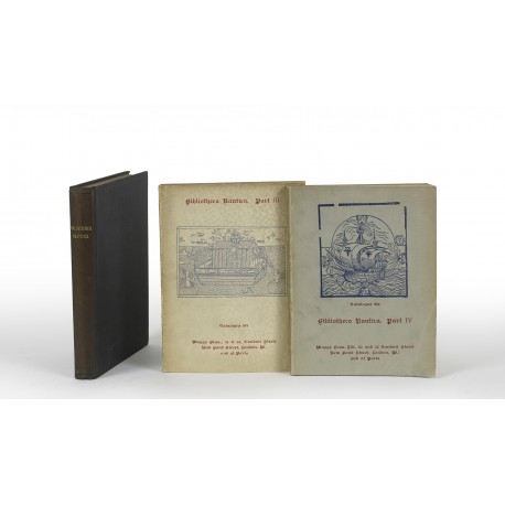 [Stock catalogues, numbered series: 508, 534, 585, 654] Bibliotheca nautica [parts I-IV] : Books, prints and manuscripts relating to naval battles and the science of naval warfare, shipbuilding and the art of navigation, pirates, buccaneers, and privateers, shipwrecks and disasters at sea [parts III-IV: … and a supplement of commemorative naval medals]