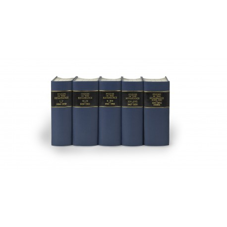Studies in the Renaissance (volumes I-XXI, 1954-1974) § Renaissance News (volumes XI-XIX, 1958-1966) § Renaissance Quarterly (volumes XX-LXII, 1967-2009)