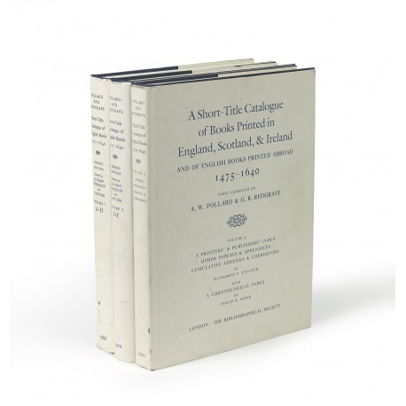 A Short-title catalogue of books printed in England, Scotland, & Ireland and of English books printed abroad 1475-1640. Second edition, revised and enlarged. Volume l: A – H § Volume 2: L – Z § Volume 3: Index