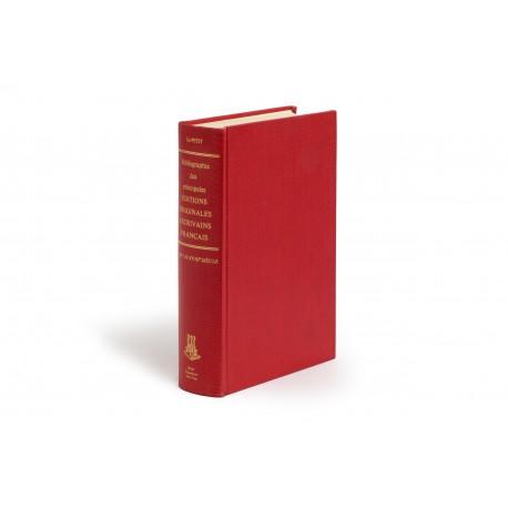 Bibliographie des principales éditions originales d'écrivains français du XVe au XVIIIe siècle (Burt Franklin Bibliography and Reference Series; 120)