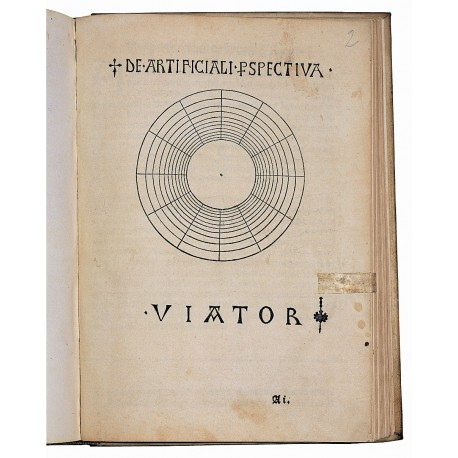 Title-page with woodcut diagram of twelve concentric circles, the traditional image of the Aristotelian cosmos (folio A1 recto, page dimensions 290 × 210 mm)