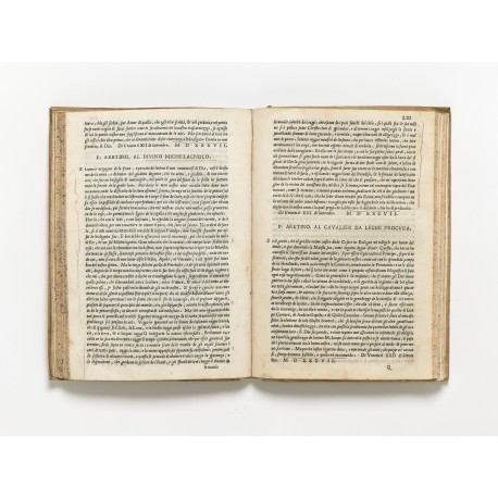 "First printing of Aretino's letter of September 1537 ""al divino Michelangelo"", in which he offers to provide the invenzione the painter would need for the Sistine Chapel ""Last Judgment"""