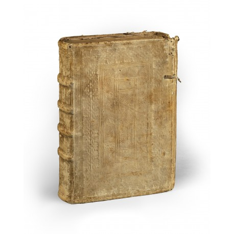 Binding of white pigskin over paper boards, executed at Bern circa 1605 (323 × 230 × 75 mm)