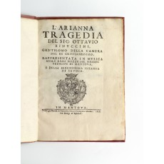 The libretto of Monteverdi's second opera, in its rare first edition (page dimensions 218 × 455 mm)