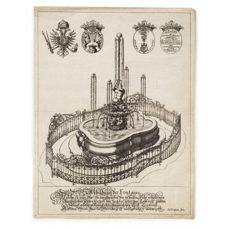 "The ""Tritonbrunnen"" in the Maximiliansplatz, Nuremberg. Engraving by Johann Georg Erasmus (410 × 312 mm, platemark)"