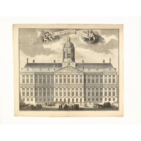 East façade of the Amsterdam Town Hall (print i), etched by Laurens Scherm (516 × 613 mm, platemark)