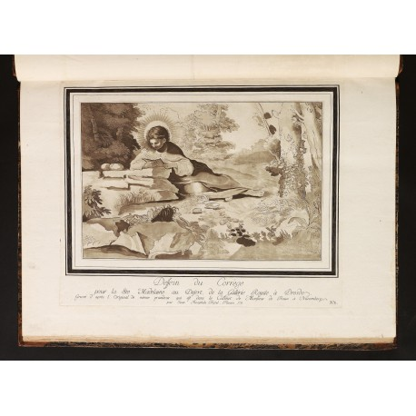 """St. Mary Magdalene lying on the ground reading"", by J.G. Prestel after Correggio, dated 1776 (plate 2)"