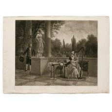 "A conversation piece by Sablet engraved in mezzotint by Domenico Cunego, the ""premiere gravure en ce genre faite a Rome"" (480 × 575 mm, platemark)"