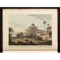 """The Chalees Satoon In The Fort Of Allahabad On The River Jumna"", a pleasure pavilion built by Akbar near the junction of the Yamuna and Ganges river. Hand-coloured aquatint drawn and engraved by Thomas Daniell, published July 1795 (Oriental Scenery, First Series, plate VI)"