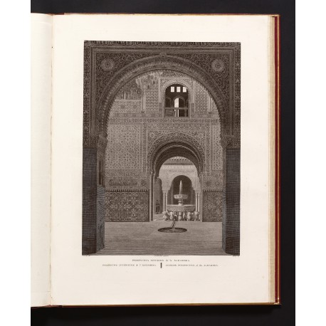 Interior view of the Alhambra, drawn by Jean Lubin Vauzelle and engraved by Antoine Claude François Villerey with etching added by J.J. de Laporte (II, pl. 20)