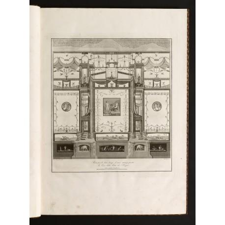 """""""Parete per lo lato lungo d'una stanza posta In Casa della Città di Pompei"""", engraving by Guglielmo Morghen (plate [3]; 585 × 535 mm)"""