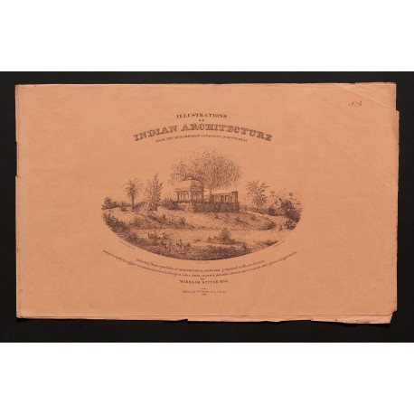 """Part-wrapper for Fascicule IV (""""Ruined Barahdurri, near Jounpur""""), printed at The Oriental Lithographic Press established in Calcutta by Jean-Baptiste Tassin, in 1829-1830 (325 × 515 mm)"""