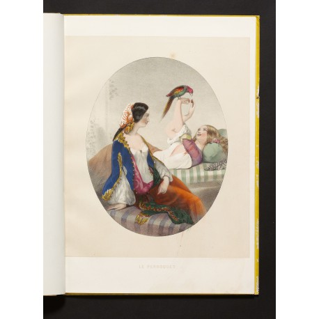 "Harem women ""languidly amusing themselves in their sultry captivity"" (Farwell)"