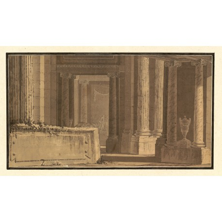 "Drawing of the interior of a sanctuary ""in honour of the three arts"" (198 × 360 mm)"