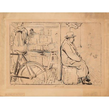 Lithograph by William Nicholson of the Cambridge bookseller Gustave David, signed on the stone and in brown ink by Nicholson. No. 25 of 100 copies printed