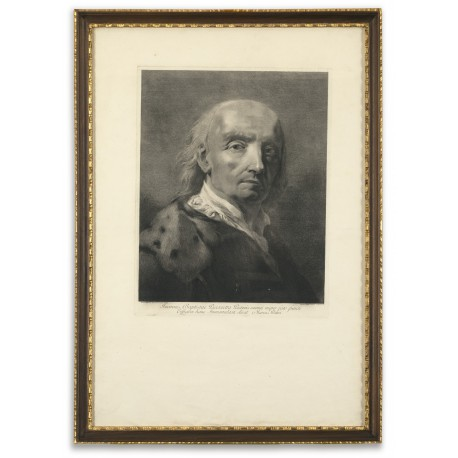 Giovanni Battista Piazzetta: self-portrait, at about seventy years of age, engraved by Marco Pitteri