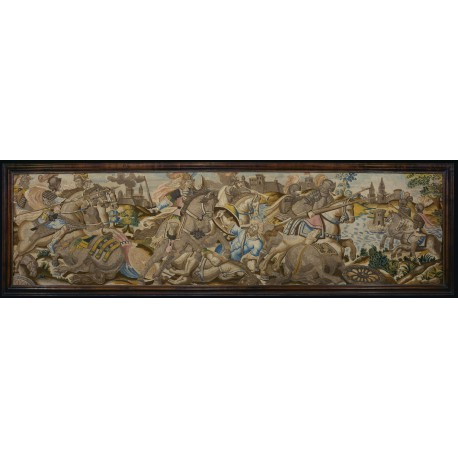 Panel (A) Cavalry skirmish, a dismounted Saracen trampled underfoot (89/91 × 340 cm / 2 feet 11 inches × 11 feet 2 inches)