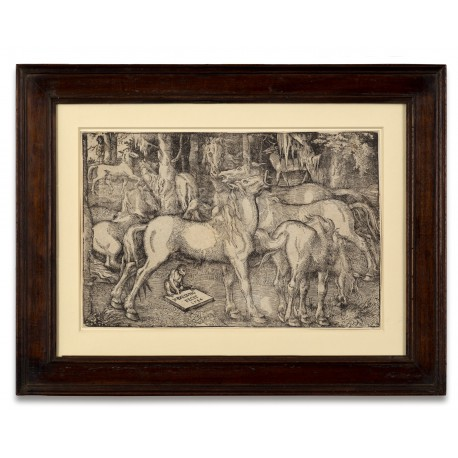 Group of Seven Horses (Stallion approaching a mare with ape, elk and man looking on), woodcut by Hans Baldung Grien