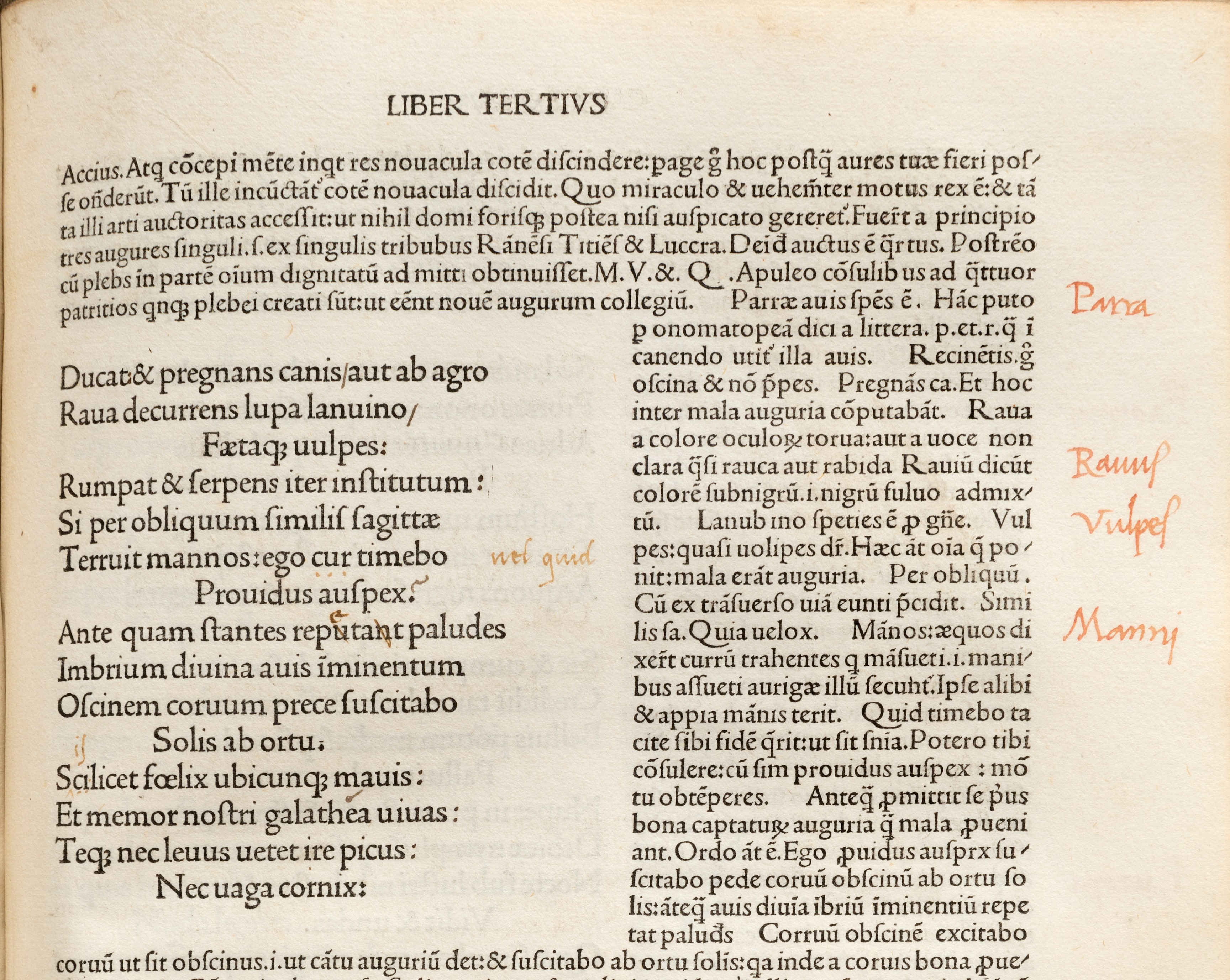 12 (detail of folio m3 recto) Emendations in brown ink to Odes 3.27.7 (quid  for cur  the reading accepted by modern scholars is cui), 3.27.9. 03178ddd7ae5