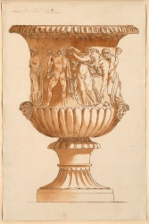 The Borghese vase, drawn in pen and dark brown ink and...