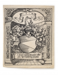 Woodcut exlibris (border 175 × 144 mm)