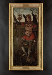 The Archangel Michael, in armour, vanquishing the devil,...